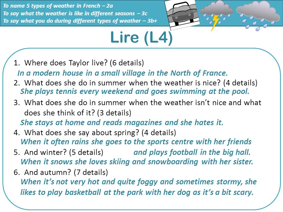 Lire (L4) Where does Taylor live (6 details)