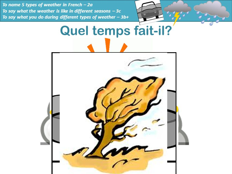 Quel temps fait-il To name 5 types of weather in French – 2a