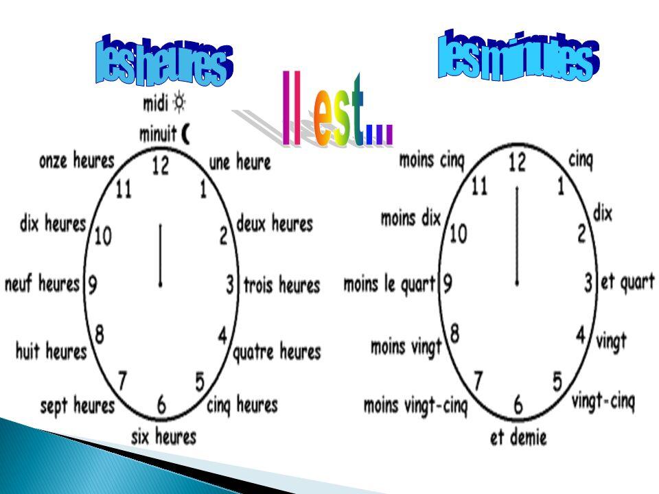 les minutes les heures Il est...