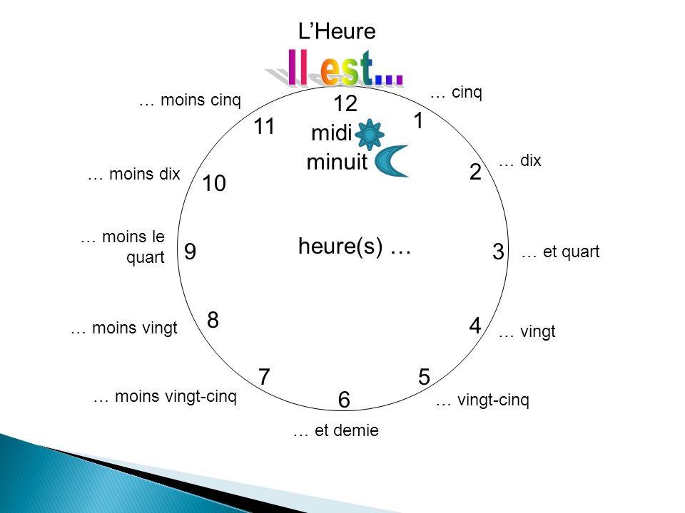 Il est... L'Heure 12 1 11 midi minuit 2 10 heure(s) … 9 3 8 4 7 5 6