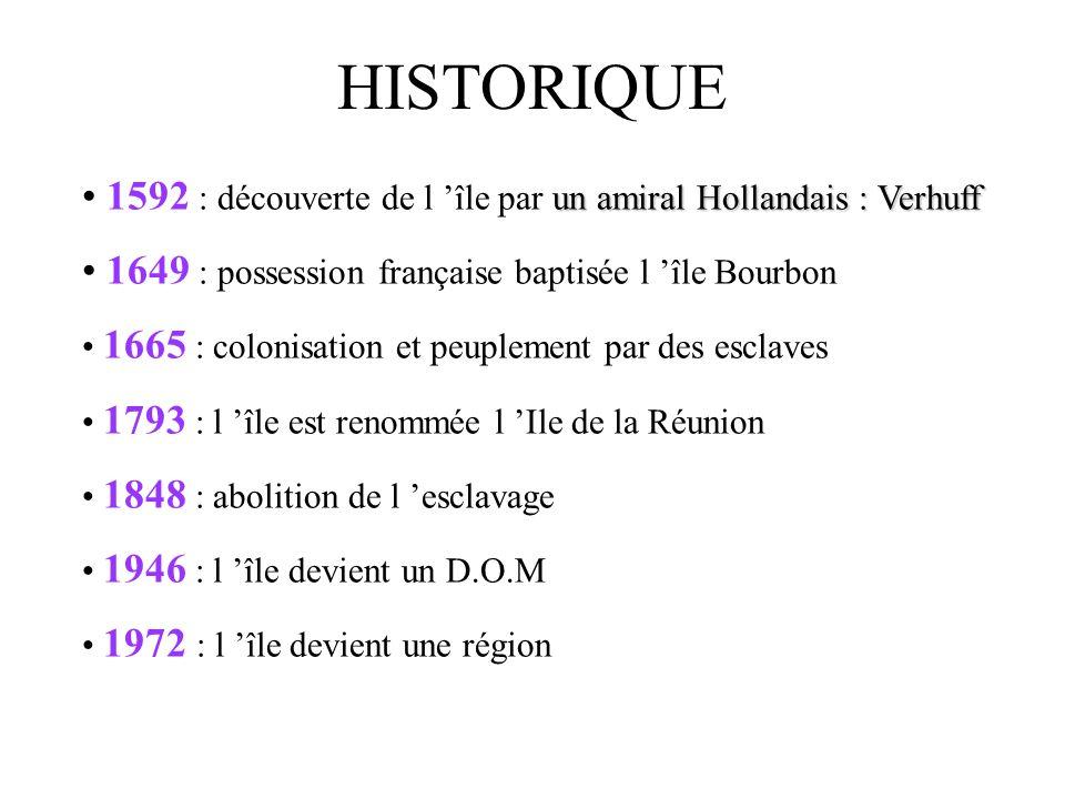 HISTORIQUE 1592 : découverte de l 'île par un amiral Hollandais : Verhuff. 1649 : possession française baptisée l 'île Bourbon.