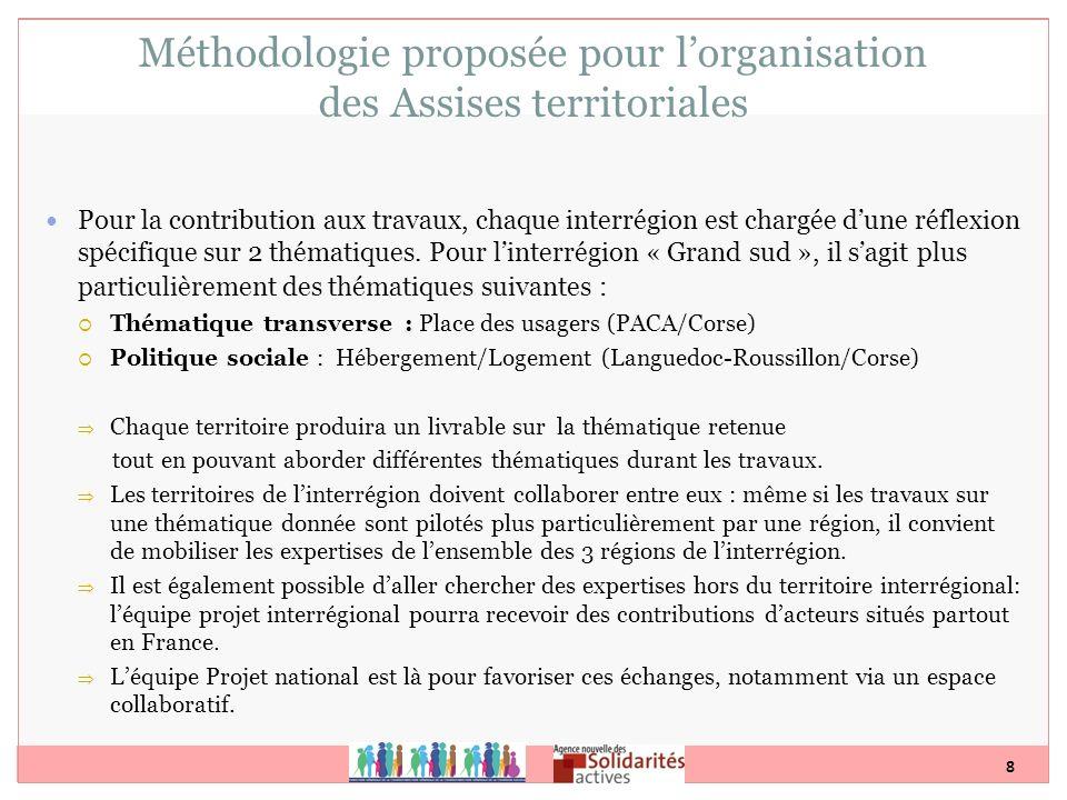 Méthodologie proposée pour l'organisation des Assises territoriales