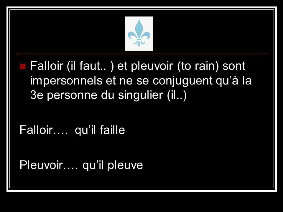 Falloir (il faut.. ) et pleuvoir (to rain) sont impersonnels et ne se conjuguent qu'à la 3e personne du singulier (il..)