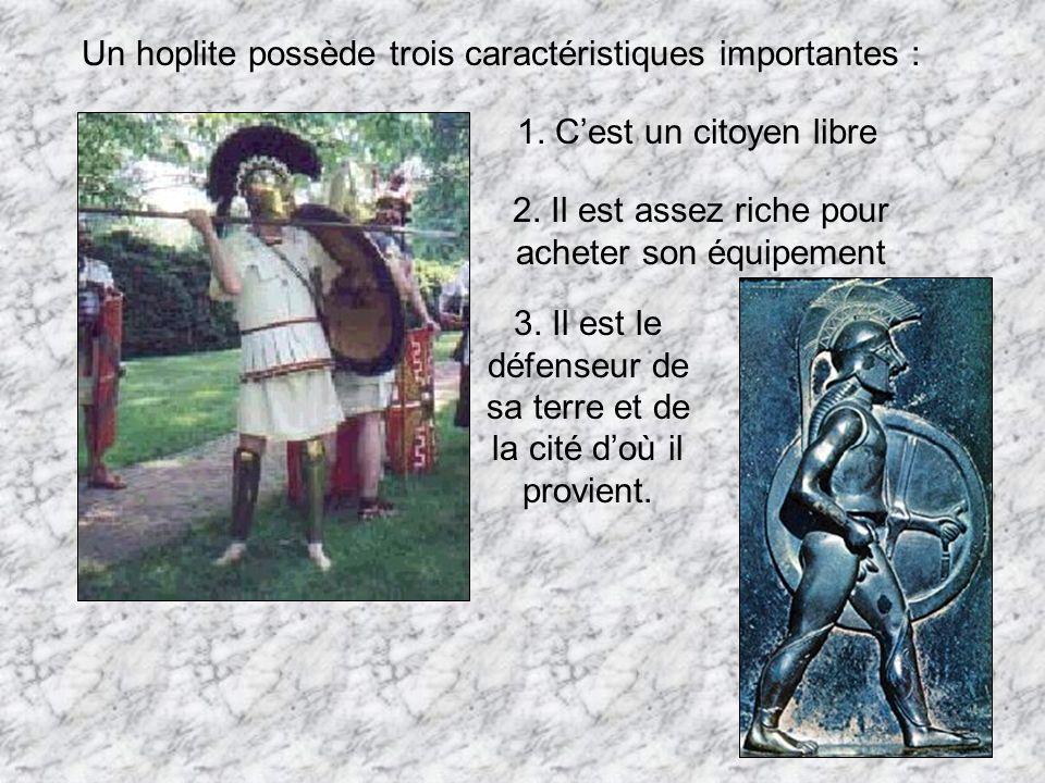 Un hoplite possède trois caractéristiques importantes :