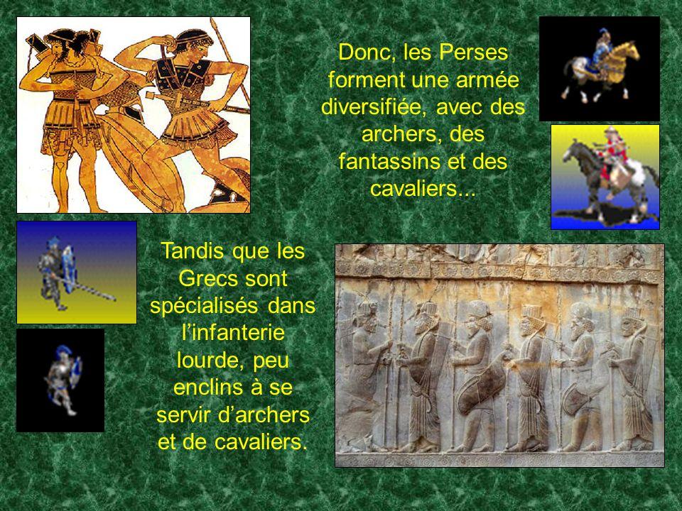 Donc, les Perses forment une armée diversifiée, avec des archers, des fantassins et des cavaliers...