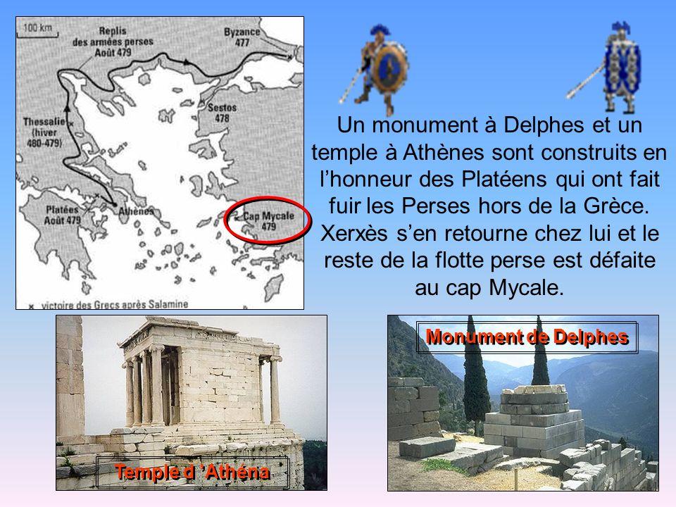Un monument à Delphes et un temple à Athènes sont construits en l'honneur des Platéens qui ont fait fuir les Perses hors de la Grèce. Xerxès s'en retourne chez lui et le reste de la flotte perse est défaite au cap Mycale.