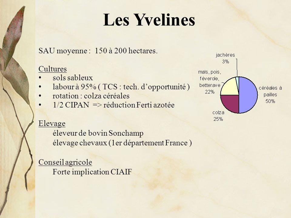 Les Yvelines SAU moyenne : 150 à 200 hectares. Cultures sols sableux