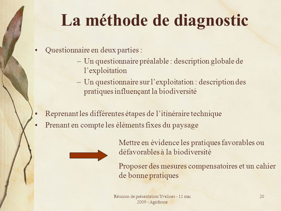 La méthode de diagnostic