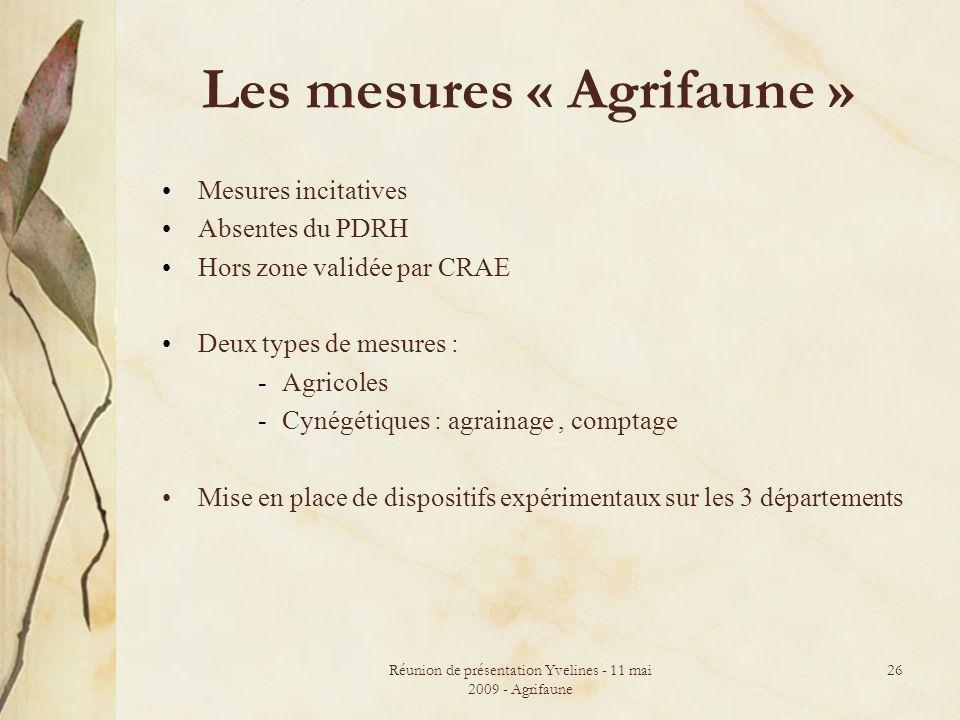 Les mesures « Agrifaune »