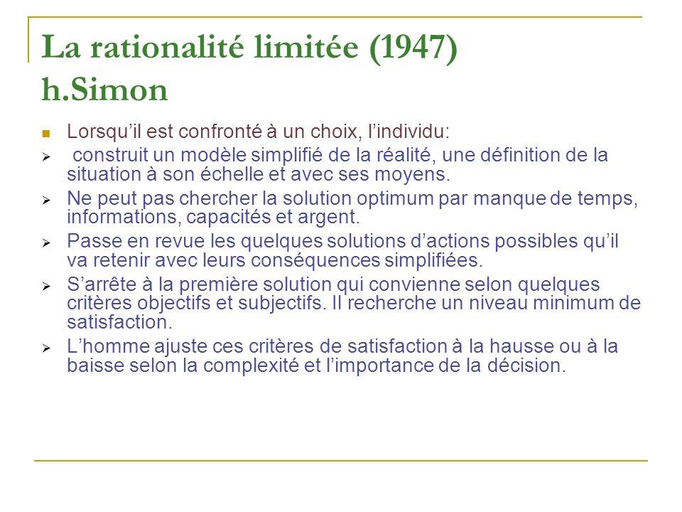 La rationalité limitée (1947) h.Simon