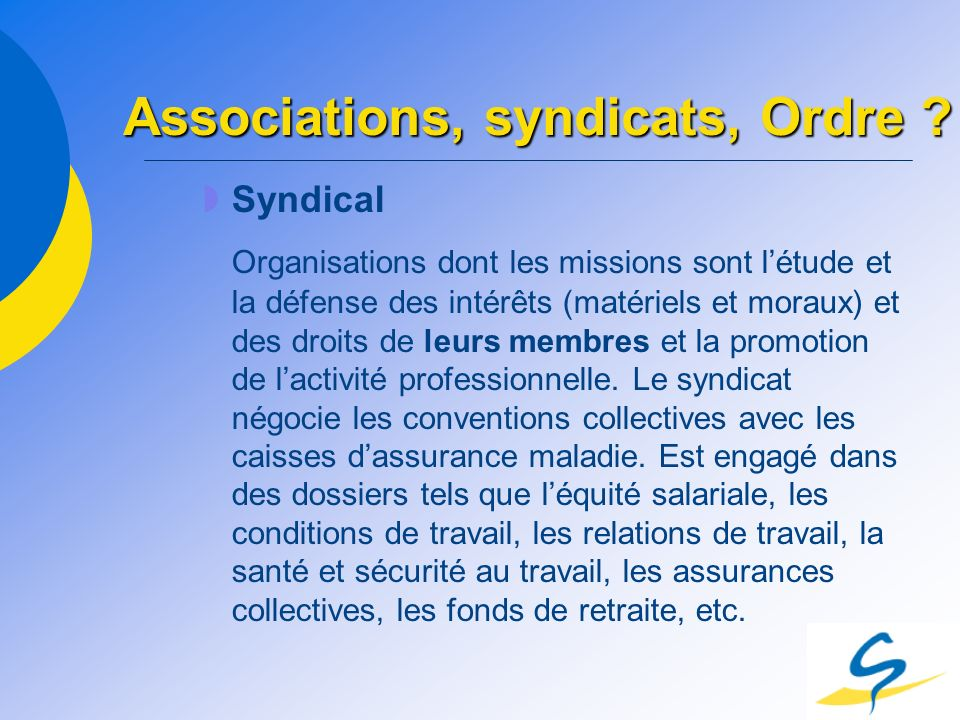 Associations, syndicats, Ordre