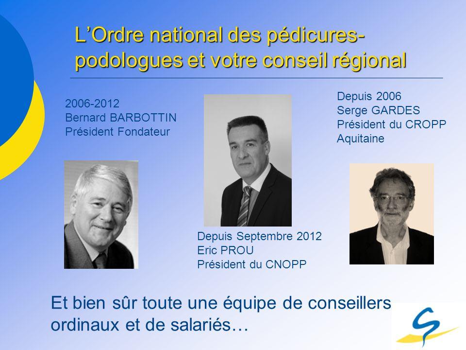 L'Ordre national des pédicures-podologues et votre conseil régional