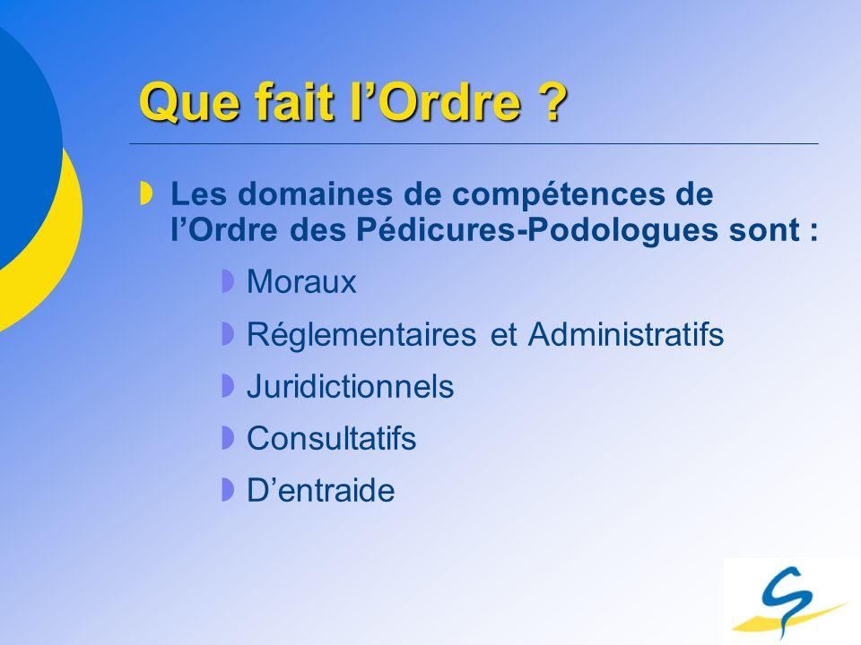 Que fait l'Ordre Les domaines de compétences de l'Ordre des Pédicures-Podologues sont : Moraux. Réglementaires et Administratifs.