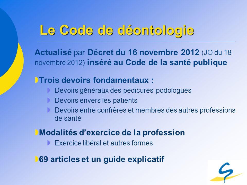 Le Code de déontologie Actualisé par Décret du 16 novembre 2012 (JO du 18 novembre 2012) inséré au Code de la santé publique.