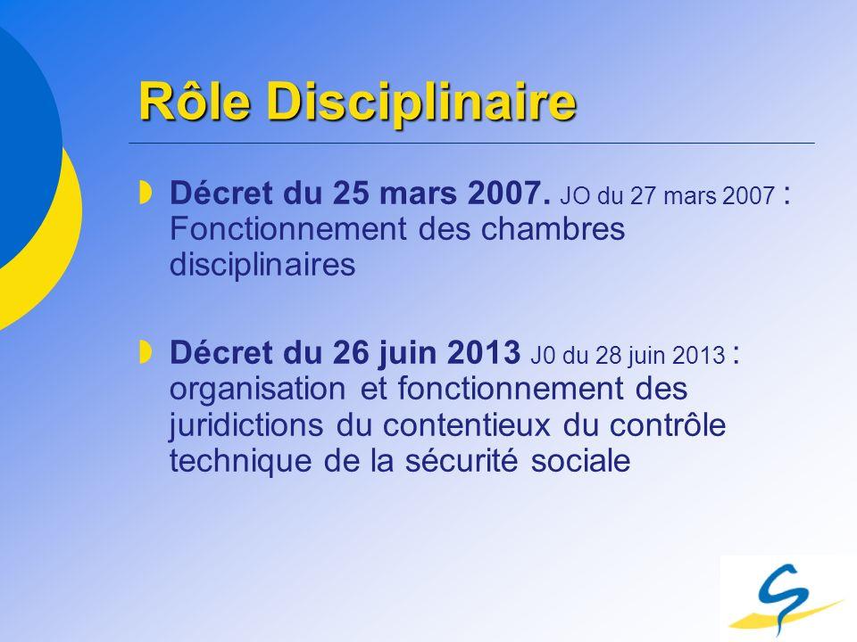 Rôle Disciplinaire Décret du 25 mars 2007. JO du 27 mars 2007 : Fonctionnement des chambres disciplinaires.