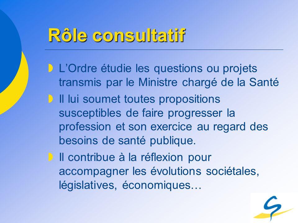 Rôle consultatif L'Ordre étudie les questions ou projets transmis par le Ministre chargé de la Santé.