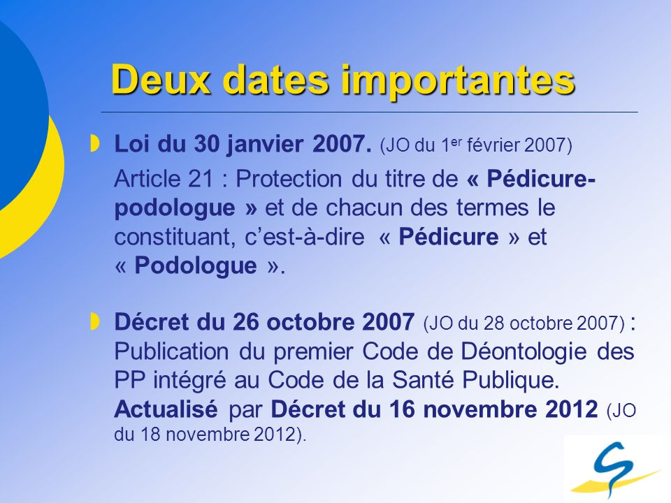 Deux dates importantes