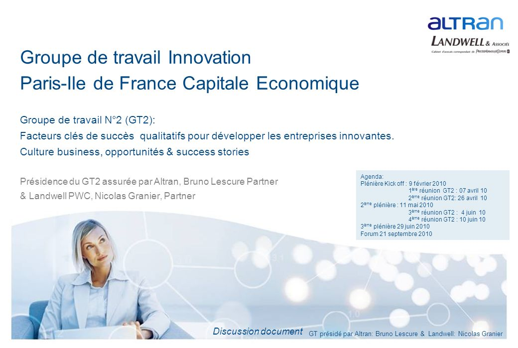 Groupe de travail Innovation Paris-Ile de France Capitale Economique