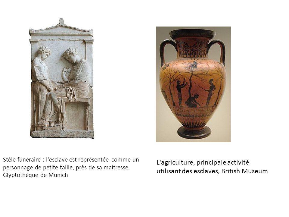 Stèle funéraire : l esclave est représentée comme un personnage de petite taille, près de sa maîtresse, Glyptothèque de Munich