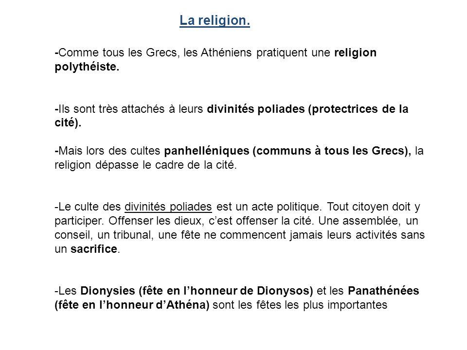 La religion. -Comme tous les Grecs, les Athéniens pratiquent une religion polythéiste.