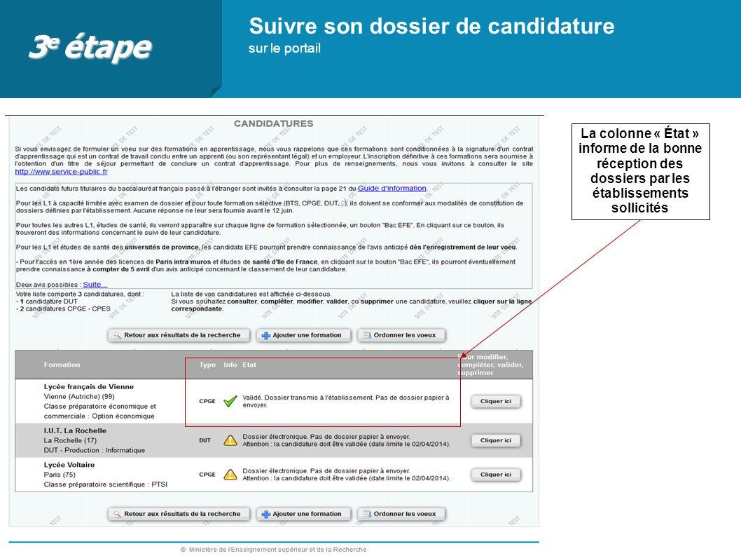 3e étape Suivre son dossier de candidature sur le portail