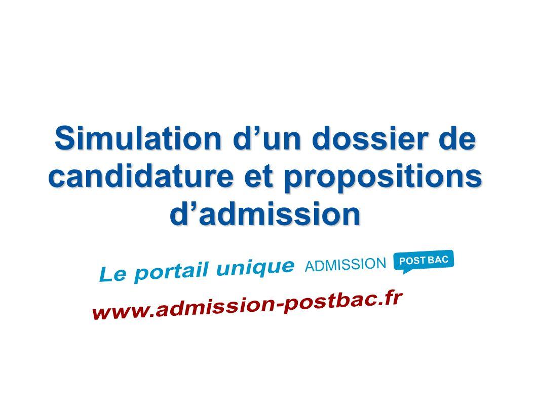 Simulation d'un dossier de candidature et propositions d'admission