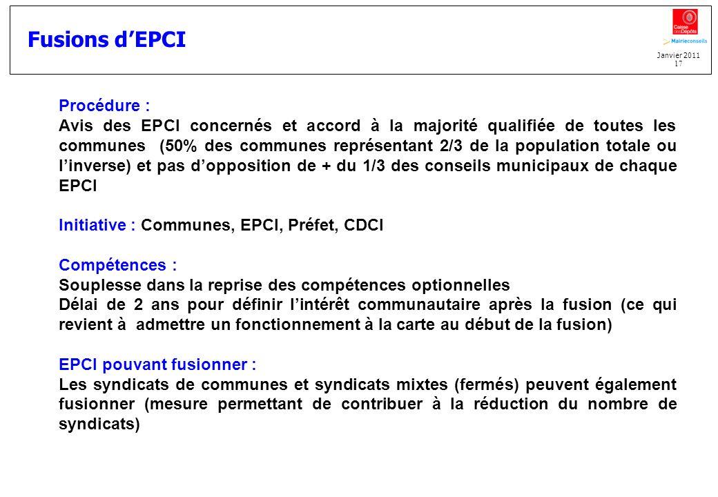 Fusions d'EPCI Procédure :