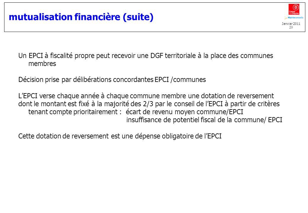 mutualisation financière (suite)