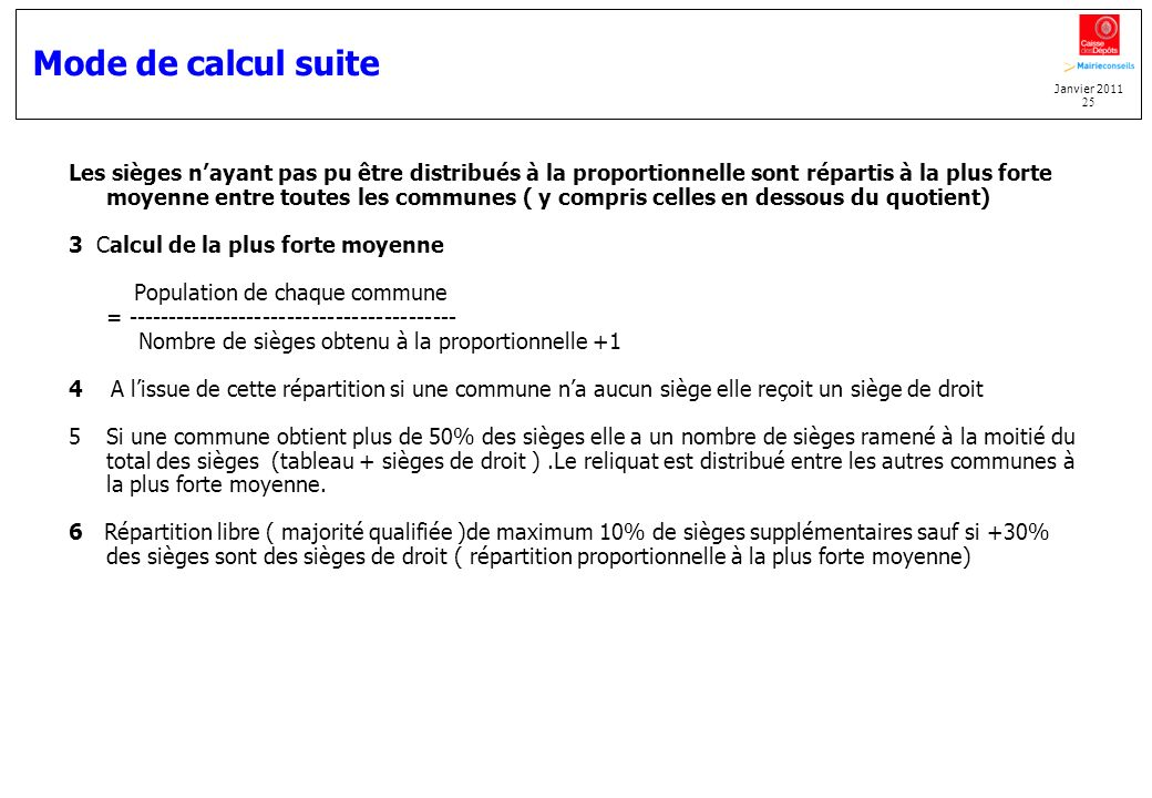 Mode de calcul suite