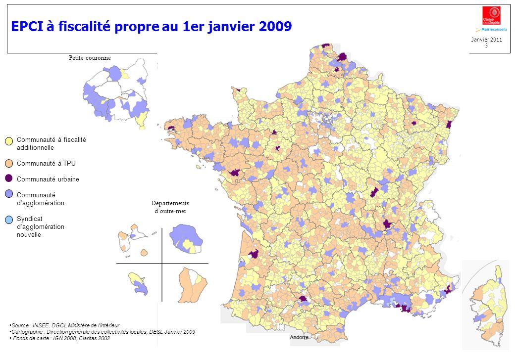 EPCI à fiscalité propre au 1er janvier 2009