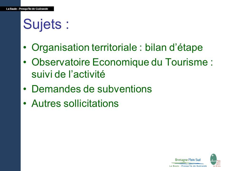 Sujets : Organisation territoriale : bilan d'étape