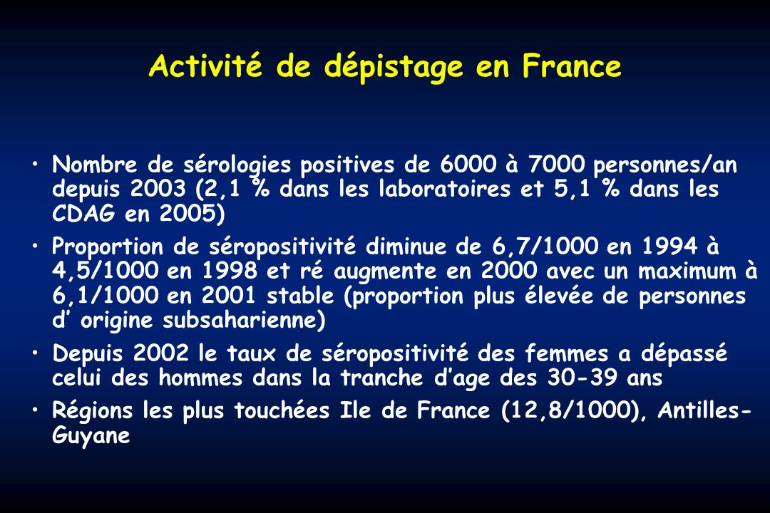 Activité de dépistage en France