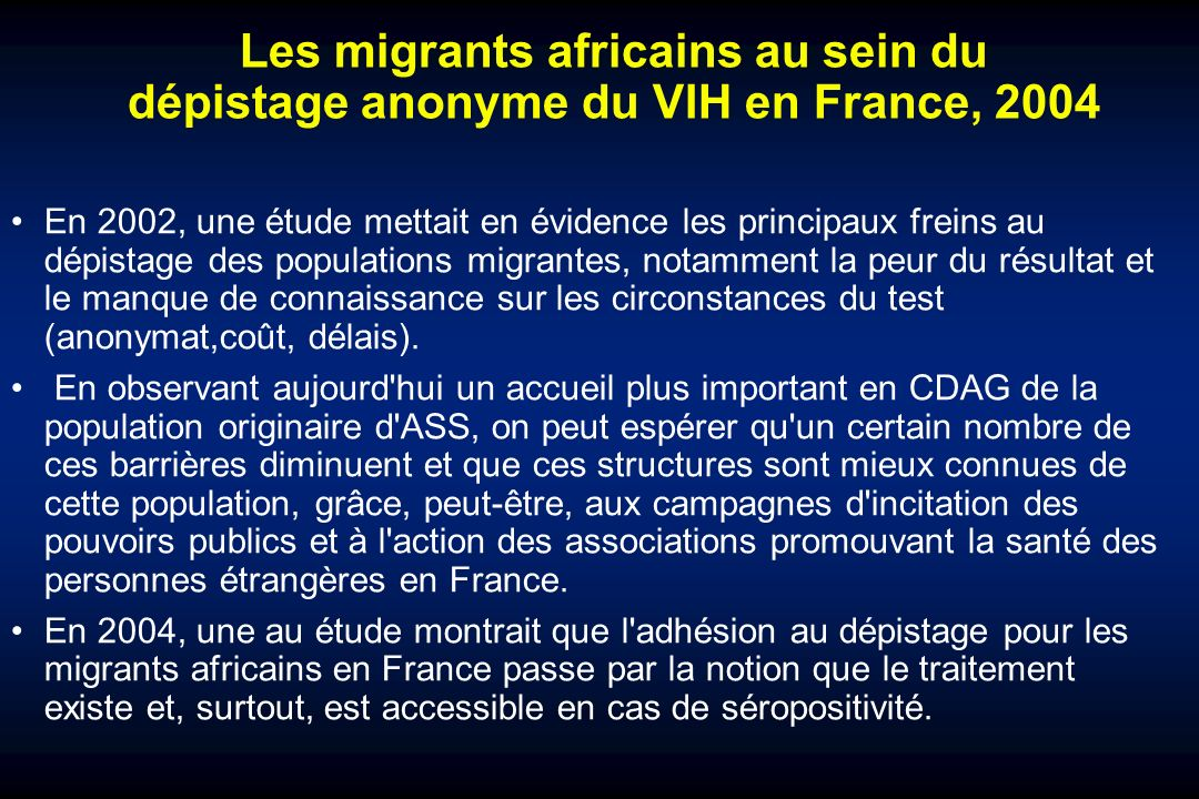 Les migrants africains au sein du dépistage anonyme du VIH en France, 2004