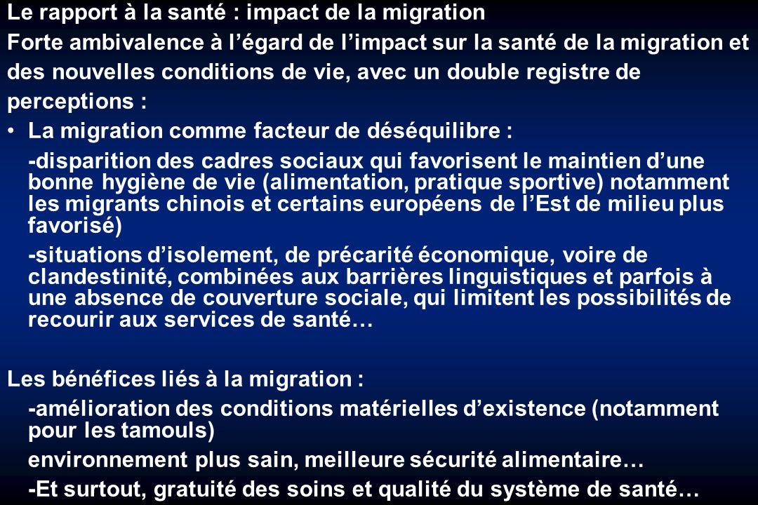 Le rapport à la santé : impact de la migration