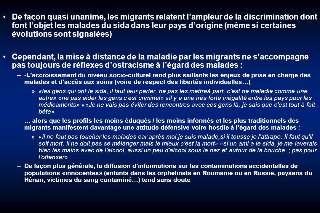 De façon quasi unanime, les migrants relatent l'ampleur de la discrimination dont font l'objet les malades du sida dans leur pays d'origine (même si certaines évolutions sont signalées)