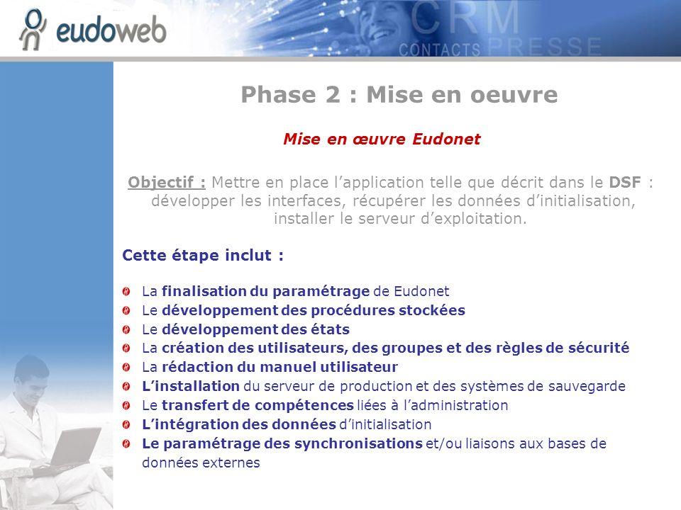 Phase 2 : Mise en oeuvre Mise en œuvre Eudonet