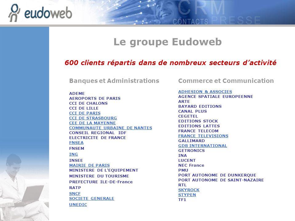 Le groupe Eudoweb600 clients répartis dans de nombreux secteurs d'activité. Banques et Administrations.