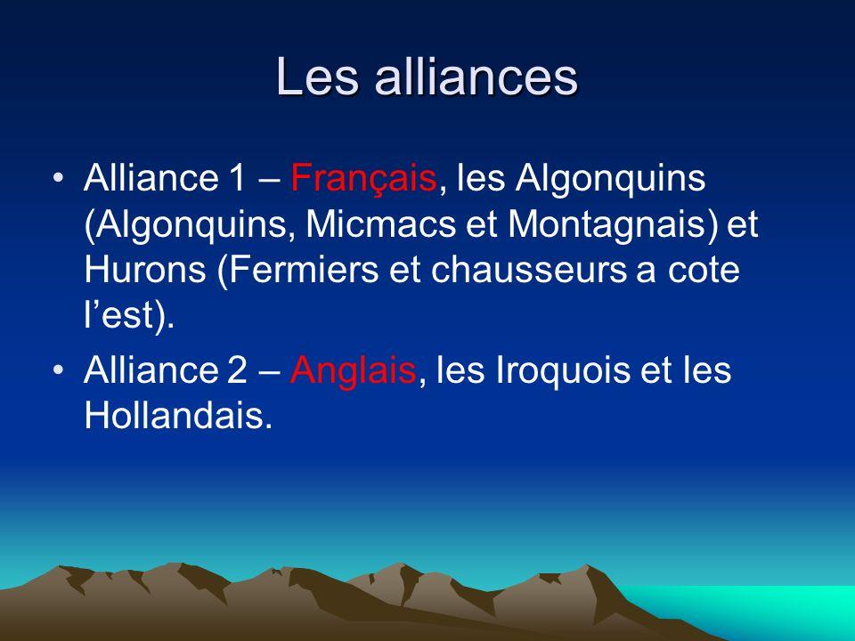 Les alliances Alliance 1 – Français, les Algonquins (Algonquins, Micmacs et Montagnais) et Hurons (Fermiers et chausseurs a cote l'est).