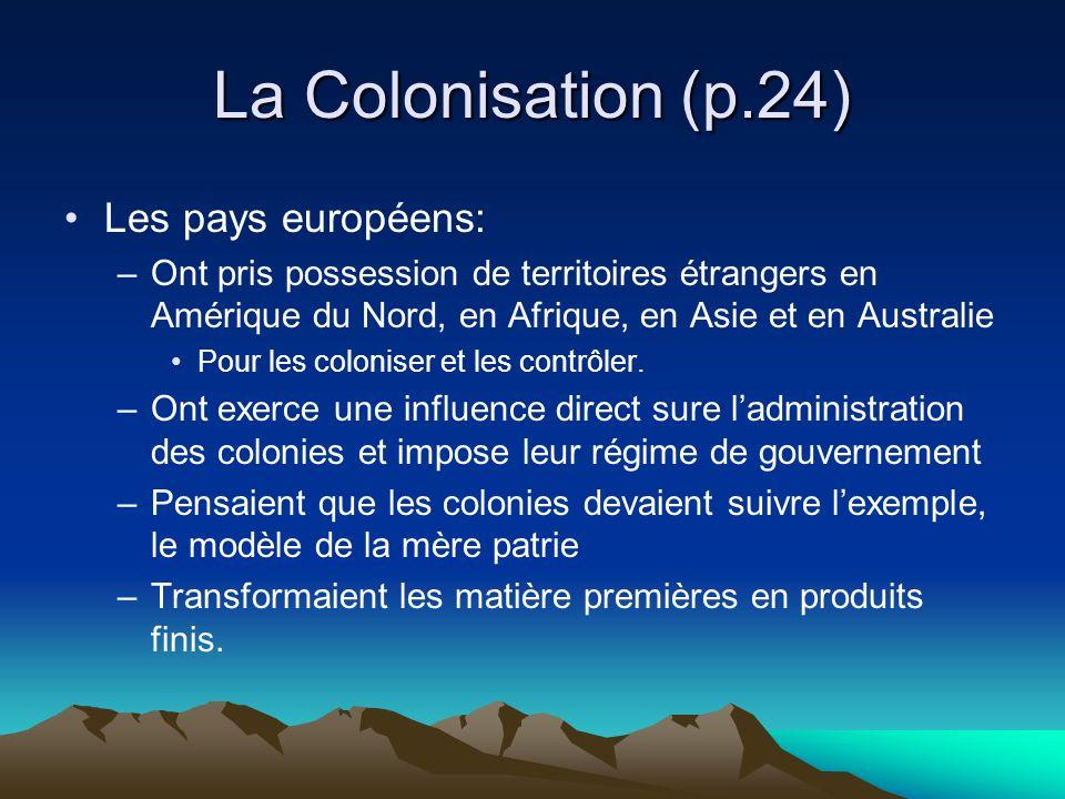 La Colonisation (p.24) Les pays européens: