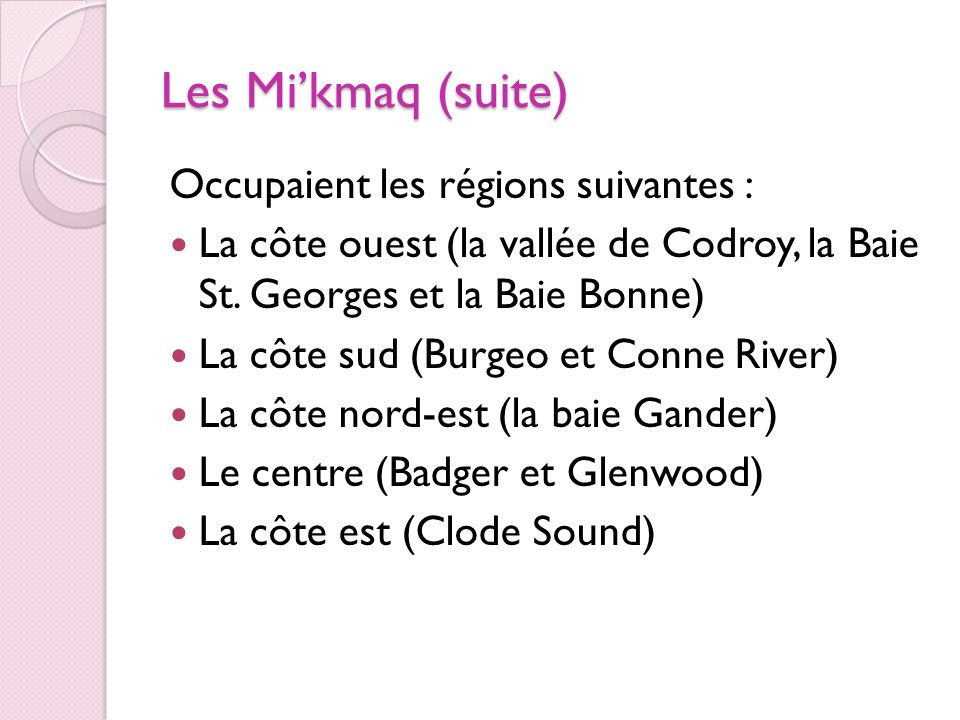 Les Mi'kmaq (suite) Occupaient les régions suivantes :