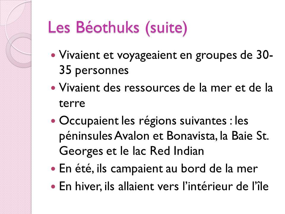 Les Béothuks (suite) Vivaient et voyageaient en groupes de 30- 35 personnes. Vivaient des ressources de la mer et de la terre.