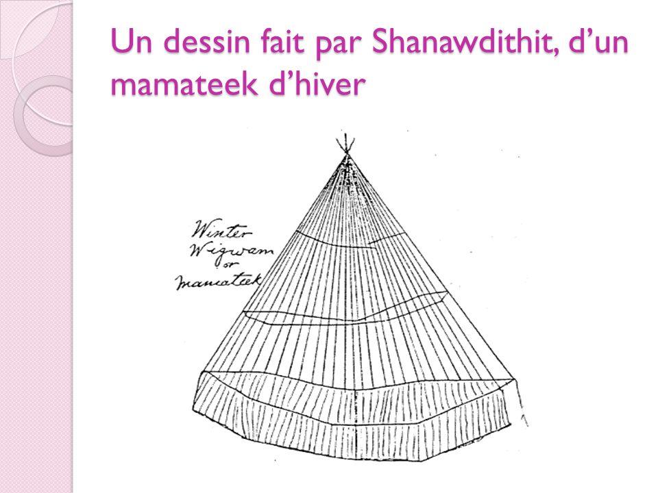 Un dessin fait par Shanawdithit, d'un mamateek d'hiver