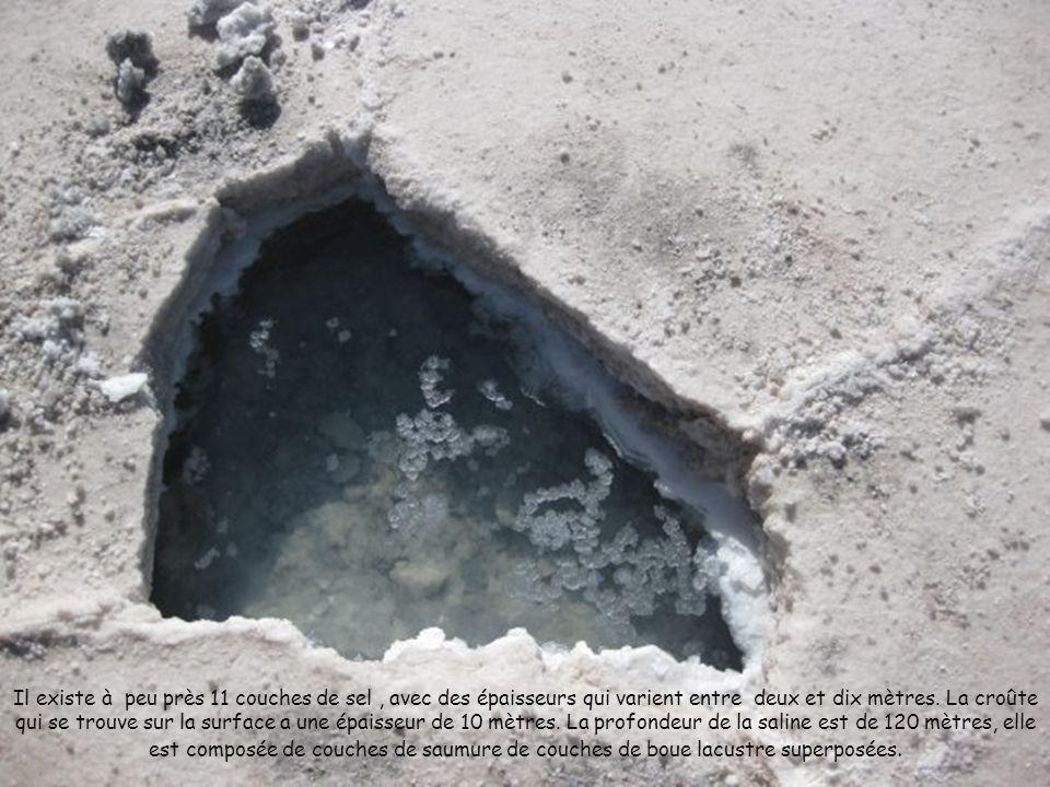 Il existe à peu près 11 couches de sel , avec des épaisseurs qui varient entre deux et dix mètres.