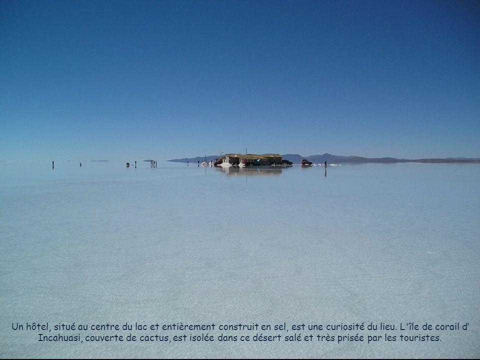 Un hôtel, situé au centre du lac et entièrement construit en sel, est une curiosité du lieu.