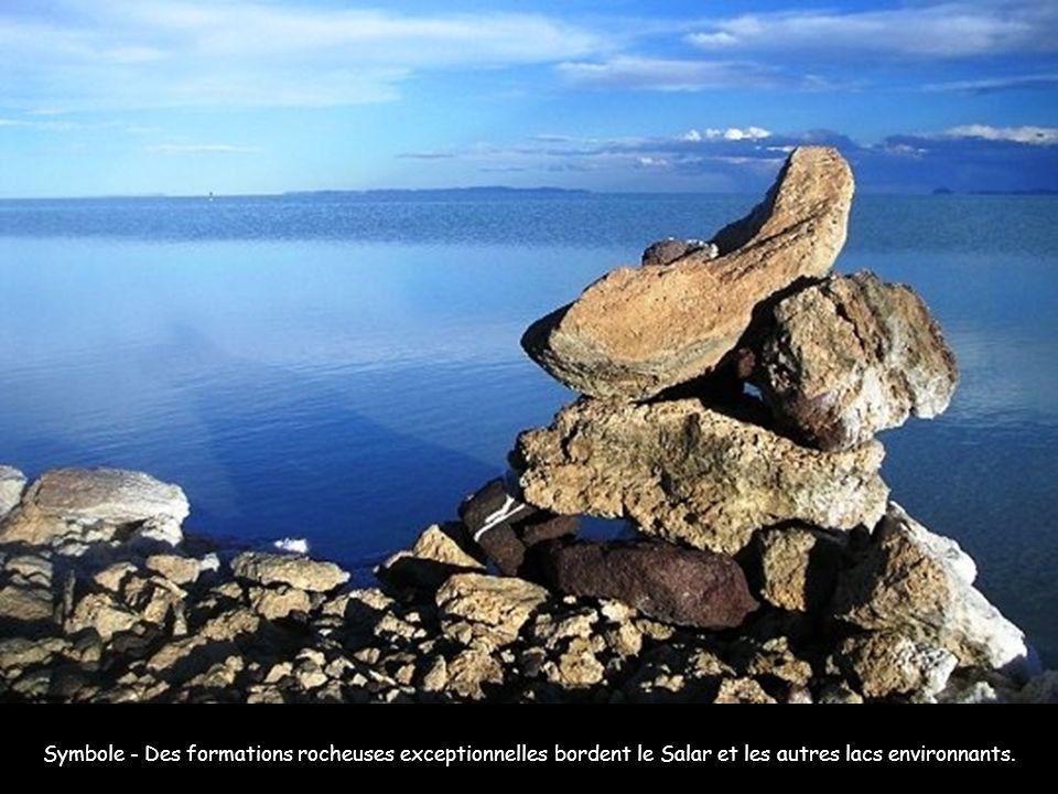Symbole - Des formations rocheuses exceptionnelles bordent le Salar et les autres lacs environnants.