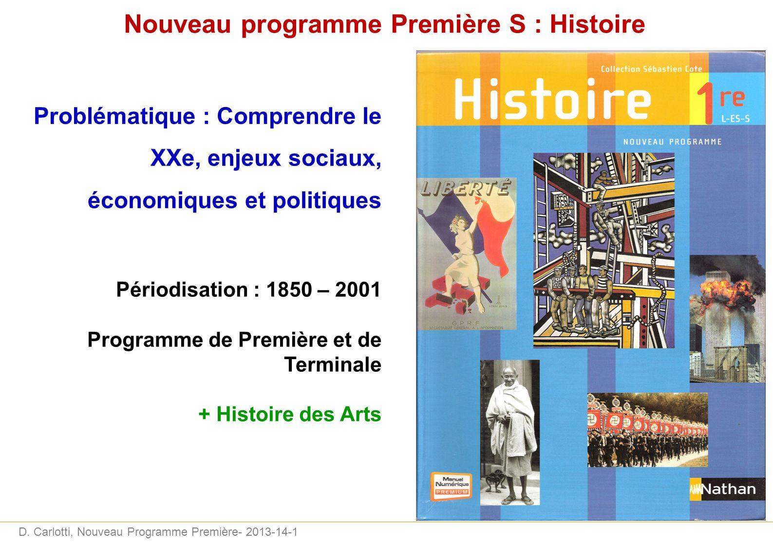 Nouveau programme Première S : Histoire
