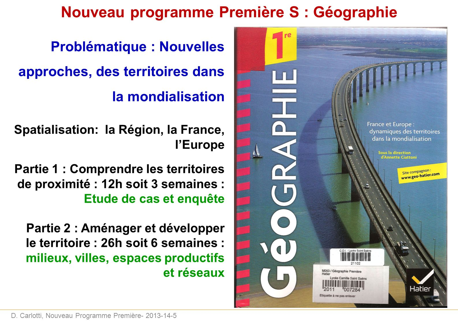 Nouveau programme Première S : Géographie