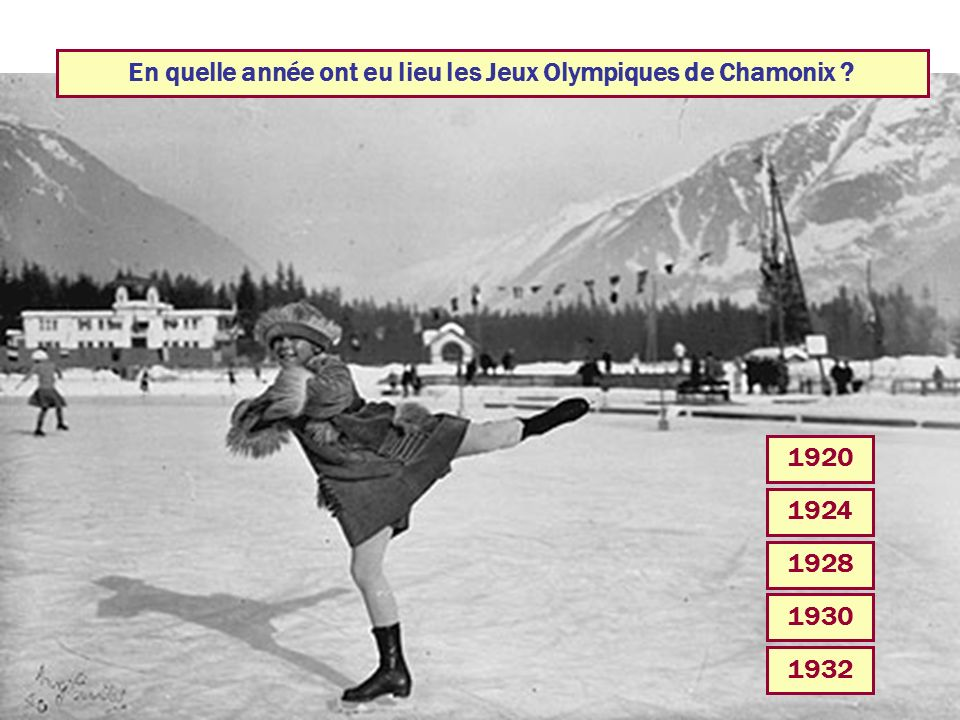 En quelle année ont eu lieu les Jeux Olympiques de Chamonix