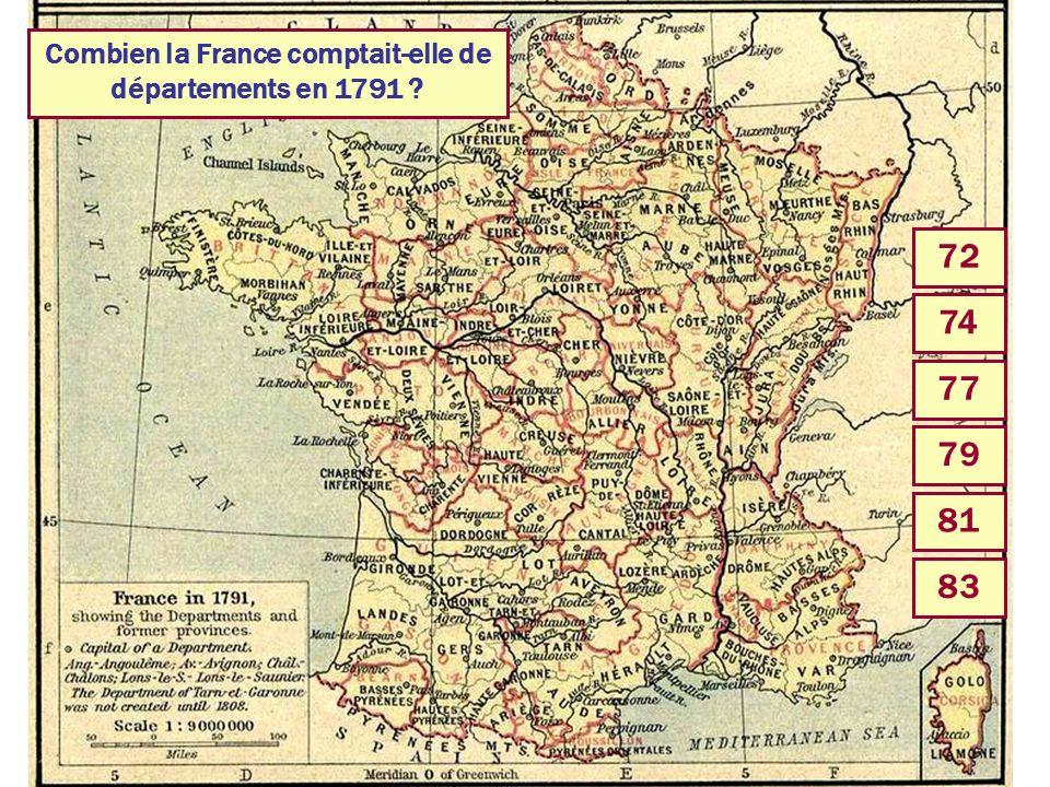 Combien la France comptait-elle de départements en 1791