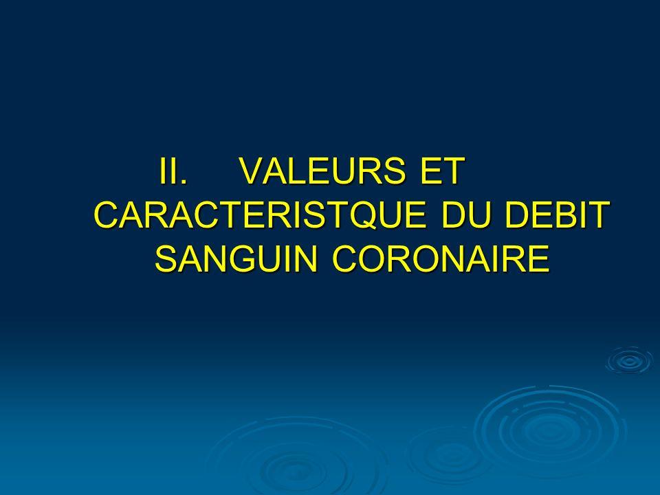 VALEURS ET CARACTERISTQUE DU DEBIT SANGUIN CORONAIRE